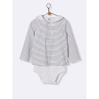 Baby's sailor-stripe bodysuit - navy/white stripe