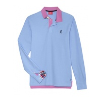LIGHT BLUE BICOLOR LONG SLEEVED POLO SHIRT, Vicomte A.