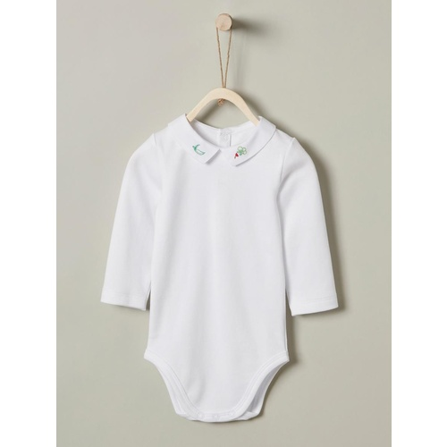 Baby's bodysuit with embroidered collar